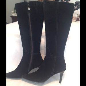 Chaps GRACIANA black suede leather knee high boot